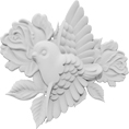 "2 1/2""W x 2 1/2"" x 3/8""D Standard Small Bird and Flowers Left Onlay"