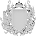 "2 1/2""W x 2 1/2"" x 3/8""D Standard Small Coat of Arms Dragon Onlay"
