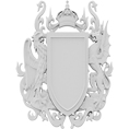 """2 1/4""""W x 3""""H x 1/4""""D Extra Small Coat of Arms Dragon Onlay"""